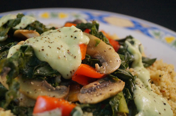 Sauteed Mushrooms & Kale with Herbed Cous Cousand an Avocado Tahini ...