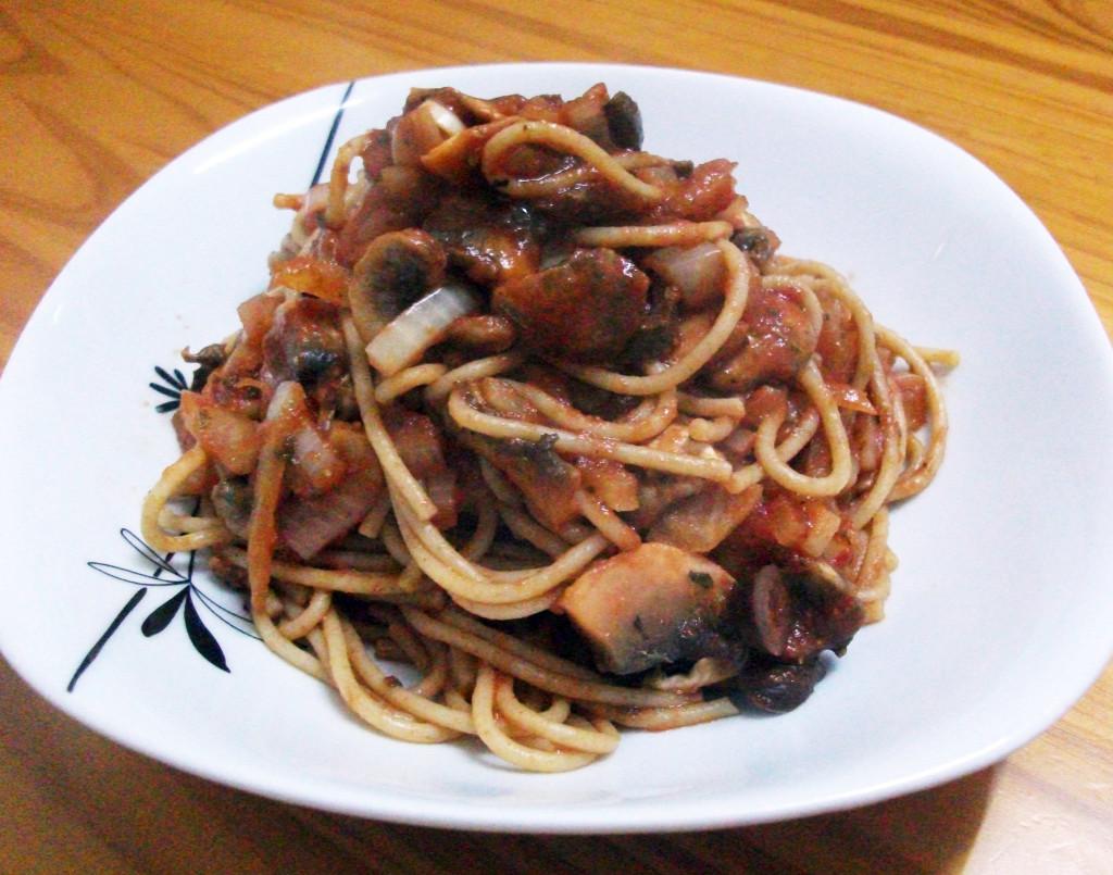 Mushroom and Kalamata Olive Spaghetti Napolitana