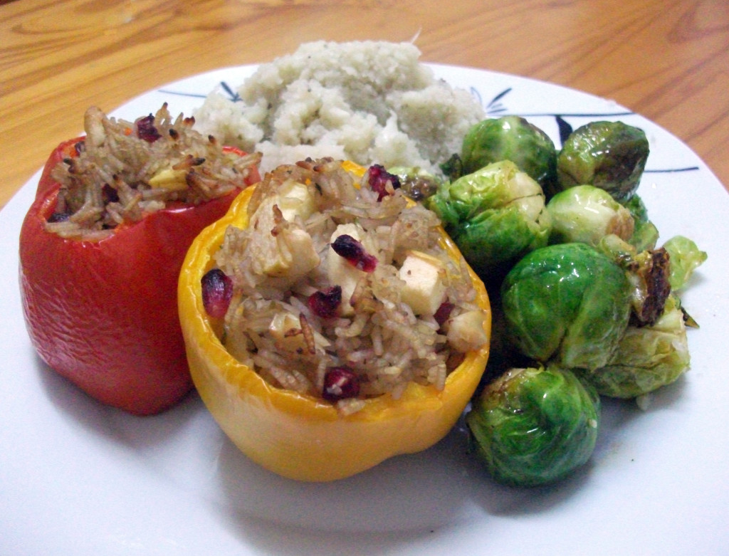 Stuffed Peppers with Peppered Cauliflower Mash and Caramelized Brussel Sprouts