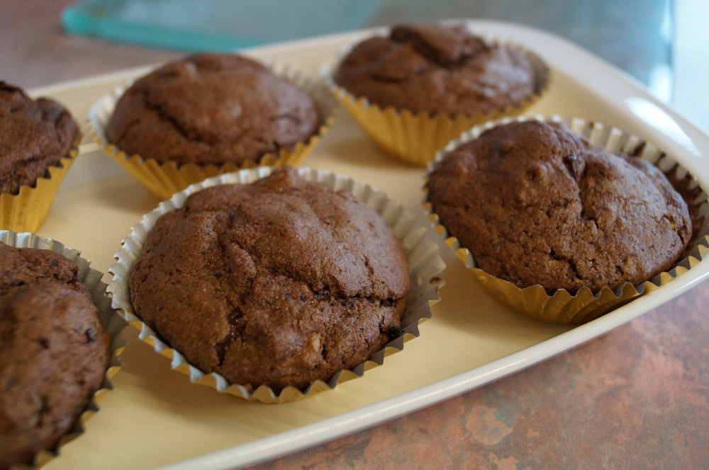 Sour Cherry, chocolate and walnut muffins