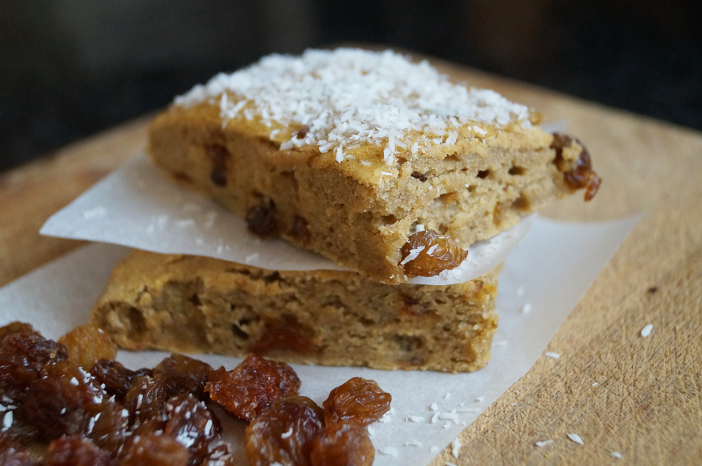 Banana Cake Squares topped with a Marmalade Glaze and showered in ...