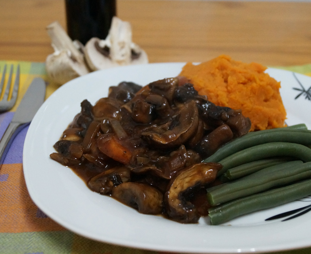 Mushroom Bourguignon with Sweet Potato Mash and Green BeansThis Is My ...