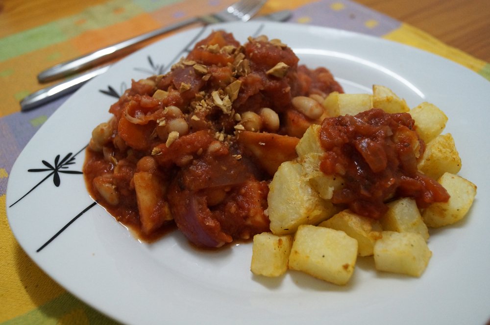 roast vegetable cassolo with patatas bravas