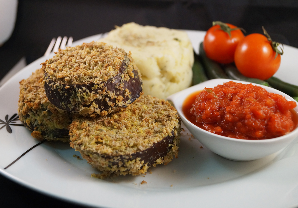 mustard and thyme crusted aubergine