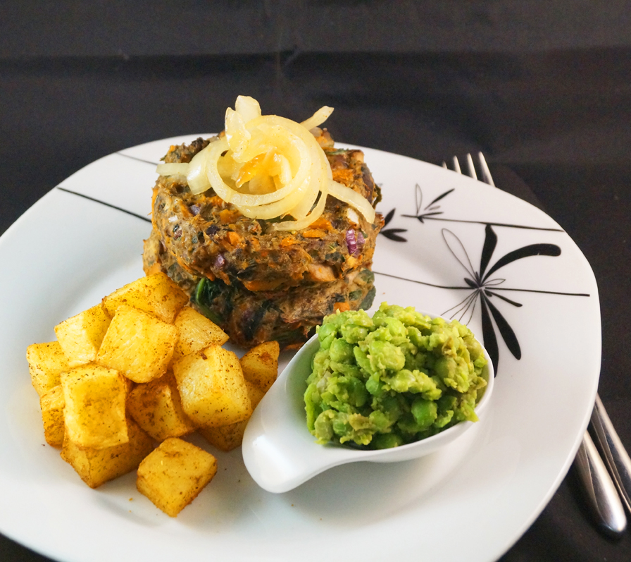 fg mushroom & spinach burger with spicy potato cubes c
