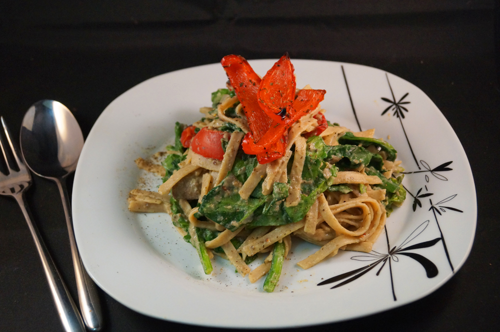 Roasted Red Pepper & Wilted Spinach Tagliatelle served with a Creamy ...