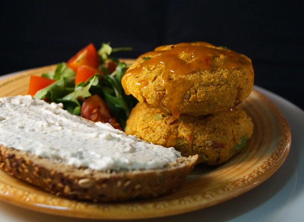 Curried Polenta Veggie Burgers with Rocket and Cherry Tomato Salad ...