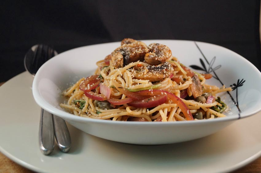 Balsamic Sautéed Mushrooms and Red Onion with Spaghetti and Shavings of Cashew