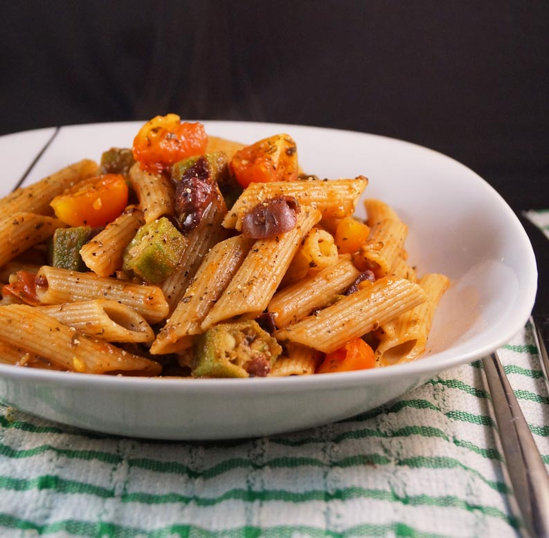Penne Pasta with Garlic Sauteed Okra, Cherry Tomatoes, Basil & Black Olives sm