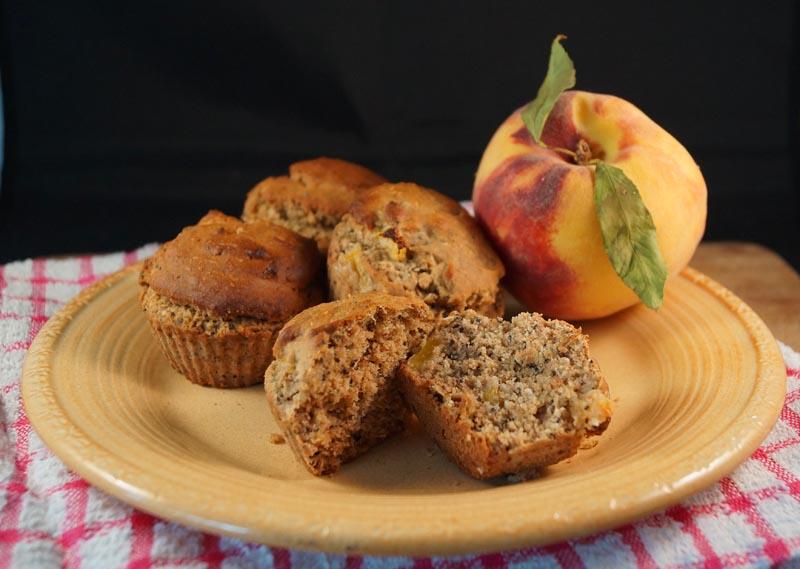 Vanilla peach poppy seed muffins 2