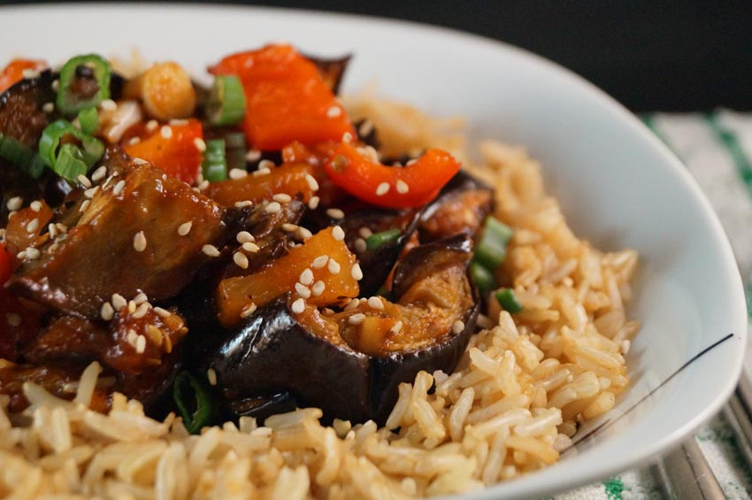 Grilled Aubergine Slices in a Cantonese Sweet and Sour Sauce  bsm