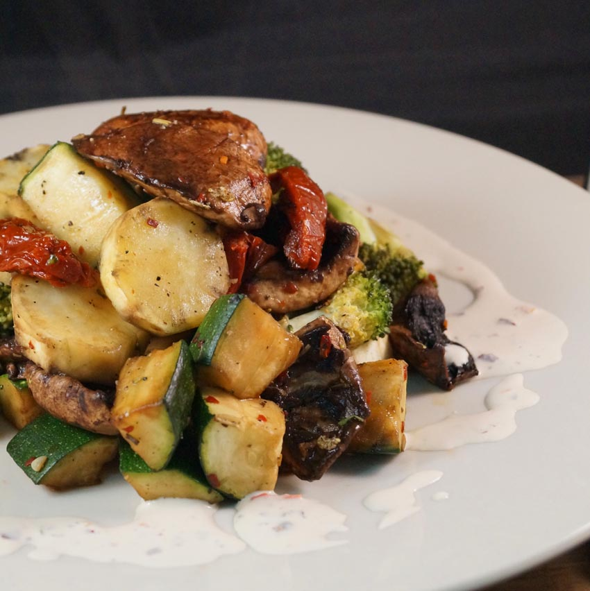 Grilled seasoned Portobello Mushrooms & Courgettes, with Sliced Roasted Sweet Potatoes,  dsm