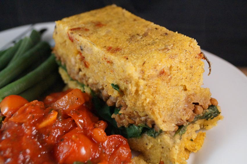Mushroom, Spinach & Lentil Polenta Loaf served with a Tangy Tomato and ...