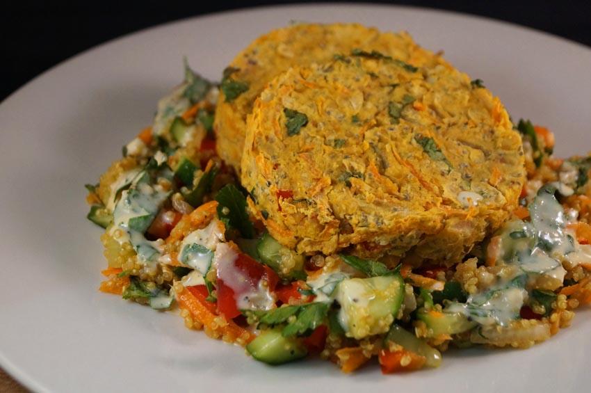 Wasabi Chickpea & Chia Veggie Burgers with Quinoa Taboulleh  csm
