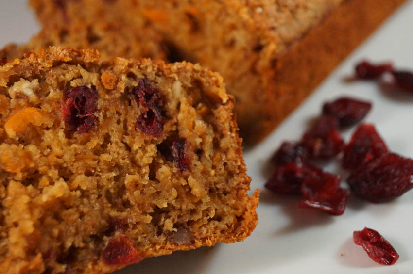 Carrot, Cranberry and walnut loaf bsm