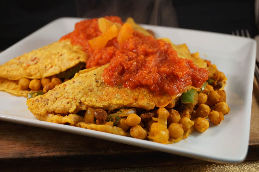 Chilli Crepes stuffed with Moroccan Chickpeas bsm