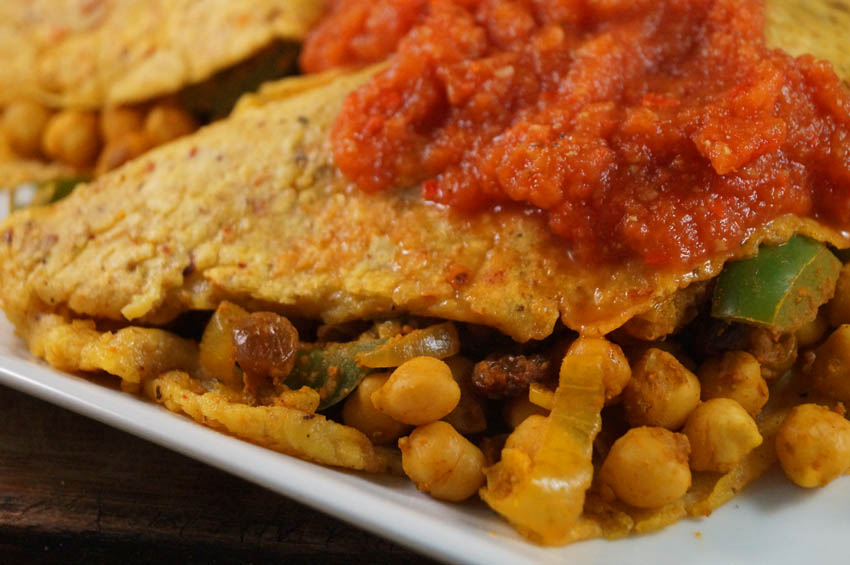 Chilli Crepes stuffed with Moroccan Chickpeas sm